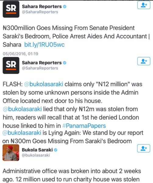 Senate president Saraki and blogger fight over N300m allegedly stolen from his bedroom