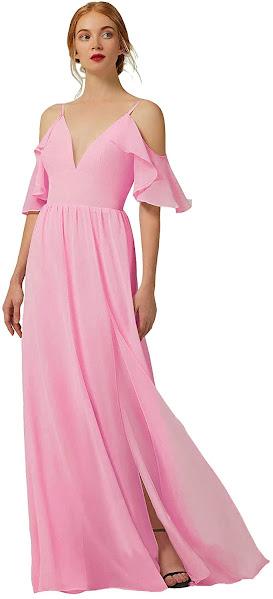 Cute Pink Chiffon Bridesmaid Dresses