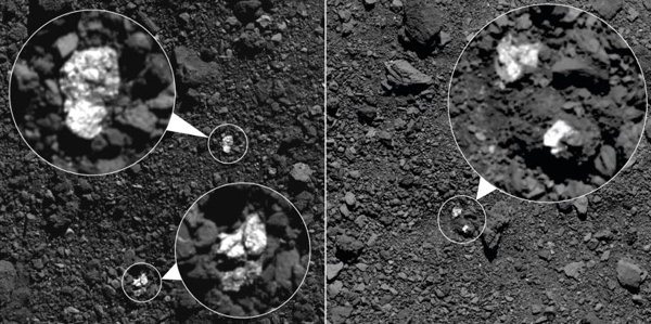 Images of asteroid Bennu's surface taken by NASA's OSIRIS-REx spacecraft...showing small boulders that may have originated from asteroid Vesta.