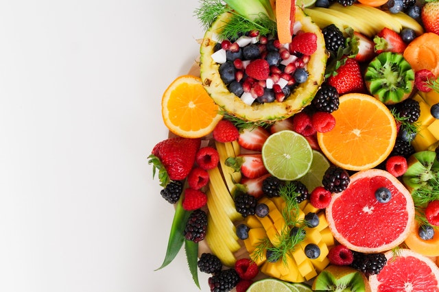 fruit bowl, vegetable bowl, fruit and veggies, strawberries, grapefruit, raspberries