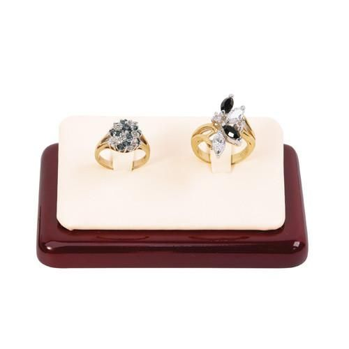 #F42-2 (RW) Leatherette Ring Display with Rosewood Color Base