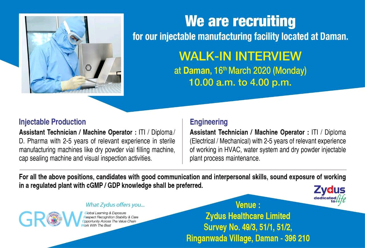 Zydus Cadila – Walk in interview for Ineluctable Production, Engineering on 16th March 2020