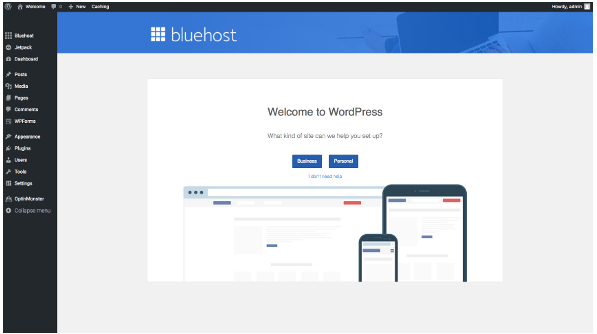 start a wordpress powered site on bluehost hosting