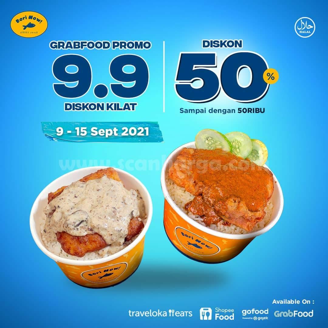 Promo DORI NOW GRABFOOD Diskon Kilat 9.9 Up To 50%