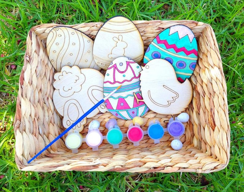 easter painting kit with mdf cut outs