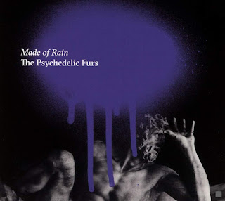 black and white photo of a classical statue with a purple paint splash under the album title