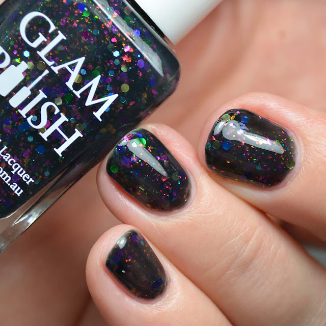 black jelly nail polish with rainbow glitter