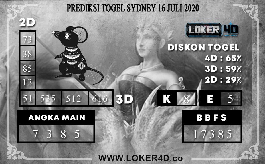 PREDIKSI TOGEL LOKER4D SYDNEY 16 JULI 2020