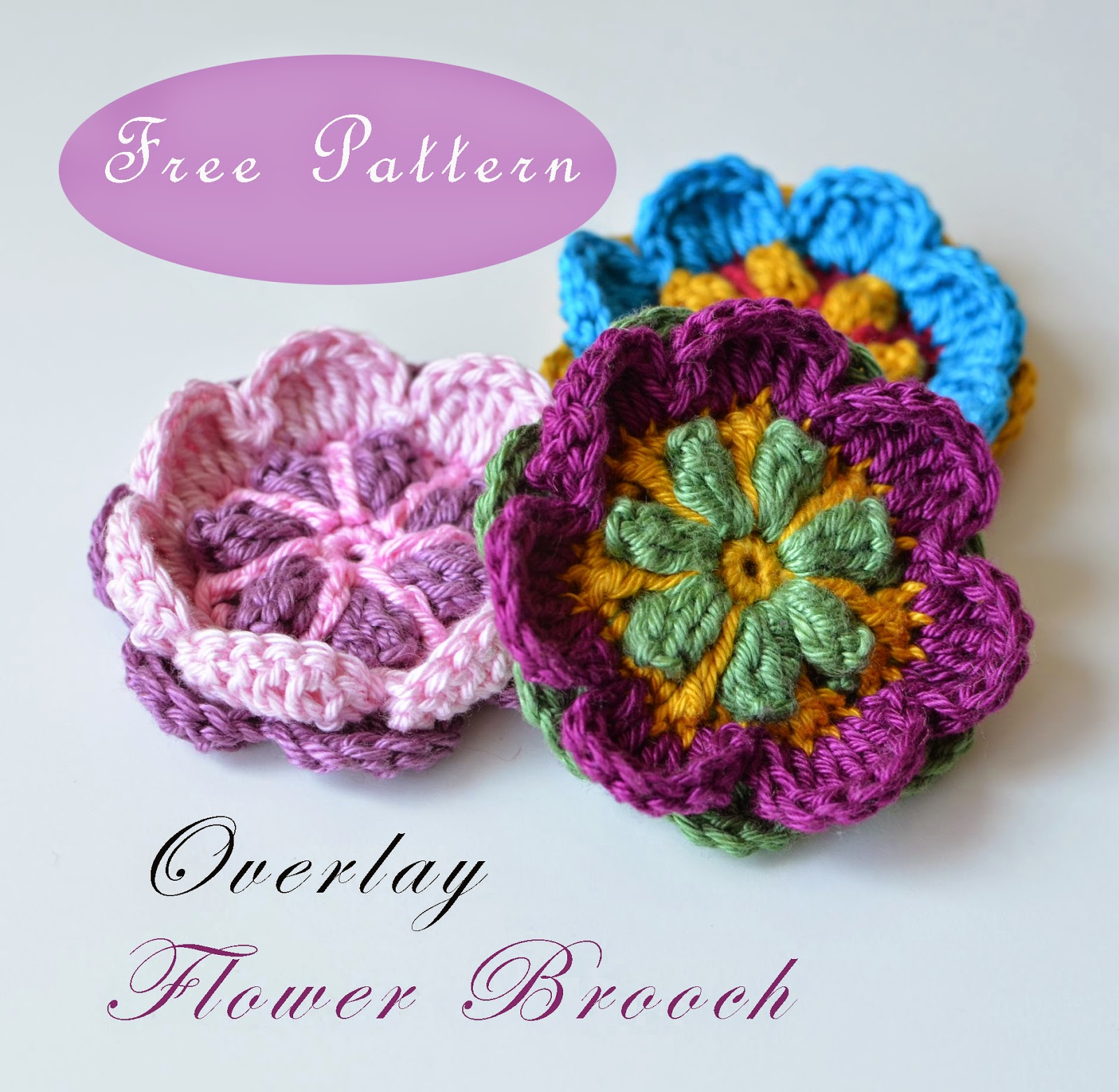 Coloful flower in overlay crochet