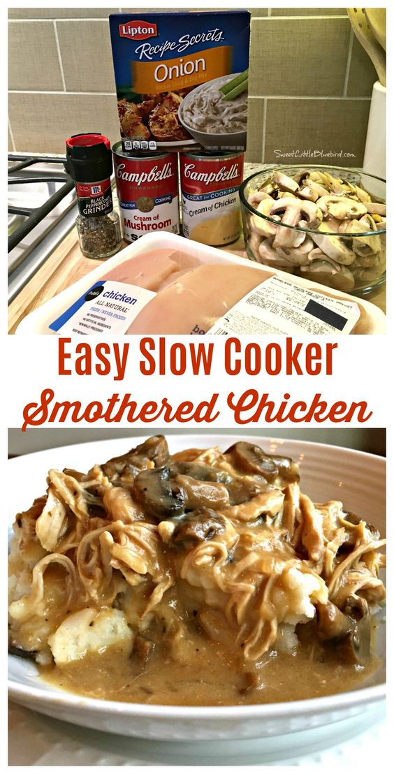 EASY SLOW COOKER SMOTHERED CHICKEN #recipes #dinnerideas #foodideas #foodideasfordinnereasy #food #foodporn #healthy #yummy #instafood #foodie #delicious #dinner #breakfast #dessert #lunch #vegan #cake #eatclean #homemade #diet #healthyfood #cleaneating #foodstagram