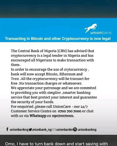 FACTCHECK: Is union bank accepting crypto currency transaction?