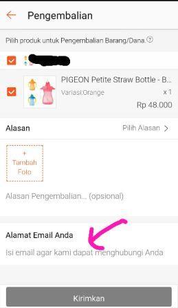 isi alamat email untuk komunikasi dengan Shopee