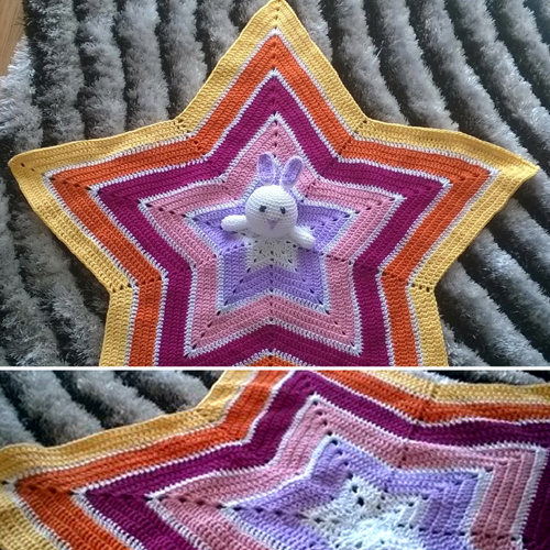 Crochet teddy bunny star blanket for babies - Free pattern