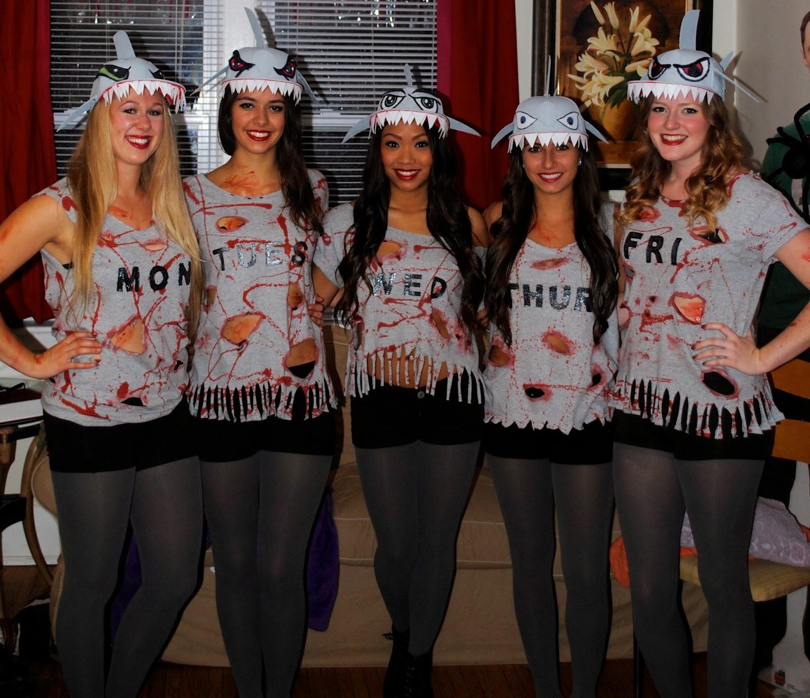 Halloween Costumes For 4 Friends.That Flour Child Shark Week Halloween Group Costume