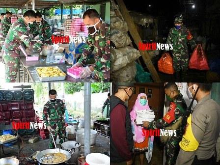 Makoramil Biringkanaya, Jadi Dapur TNI Polri Melayani 3 Kecamatan Untuk Warga Yang Berdampak PSBB