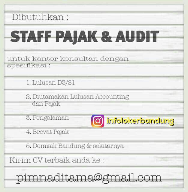 Lowongan Kerja  Staff Pajak & Audit Bandung Juli 2017