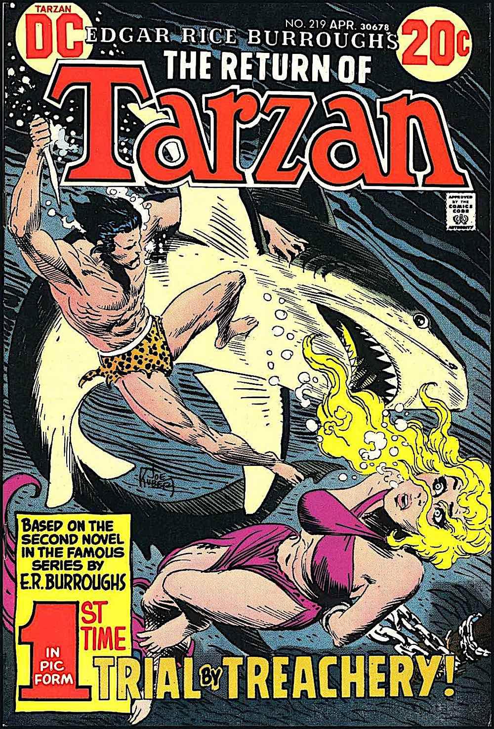 a 1973 Joe Kubert DC comic book cover for The Return Of Tarzan