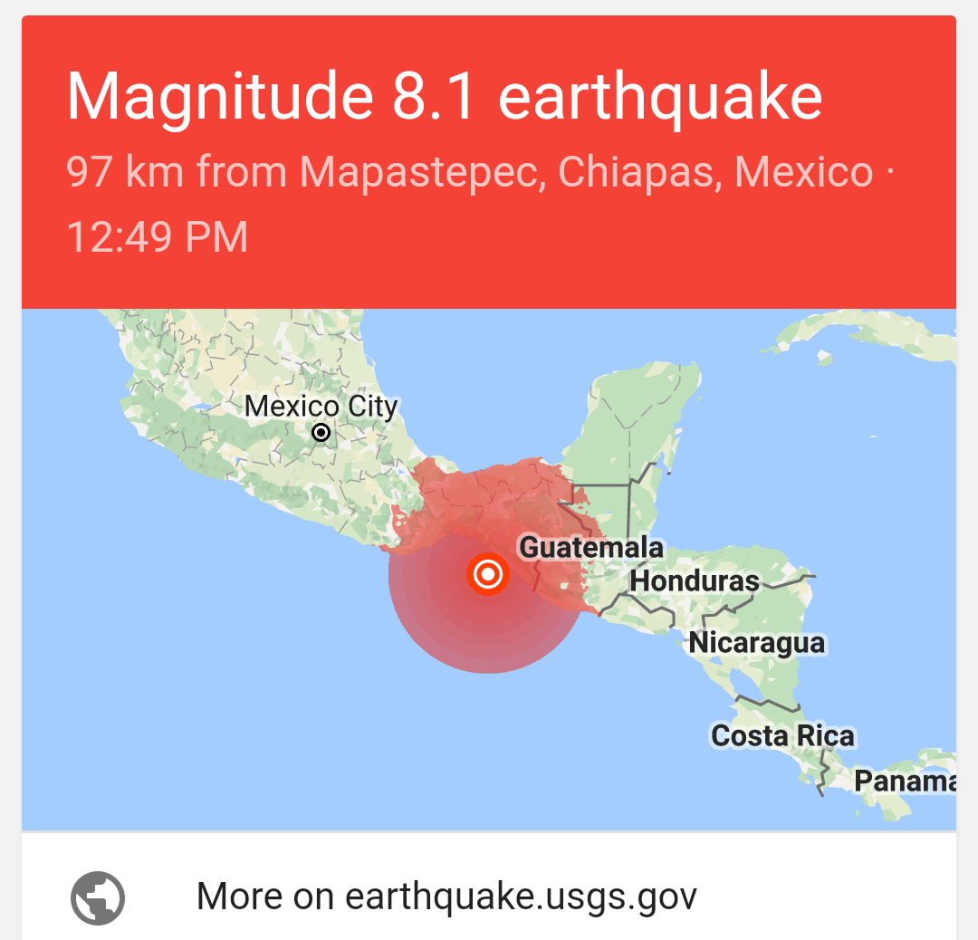 Mexico Earthquake today, September 8, 2017
