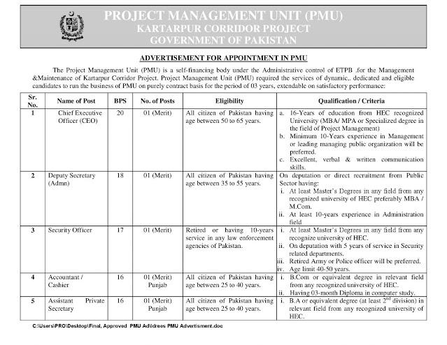 kartarpur corridor Project jobs in Pakistan 2021
