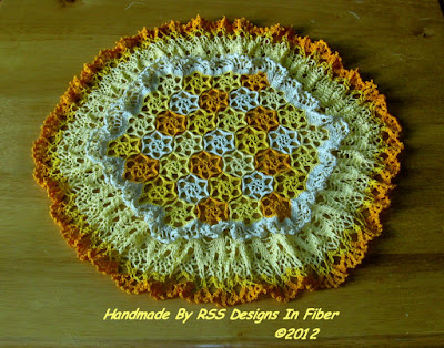 Field of Flowers Doily with Yellow and Orange Crochet Flowers - Handmade By Ruth Sandra Sperling at RSS Designs In Fiber