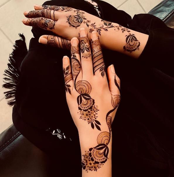 Dotted Mehndi Design Back Hand