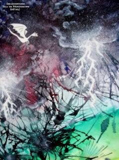 dragons orage tempête aquarelle