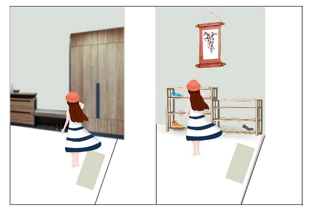 玄關,鞋櫃風水,風水,裝潢,實木皮板,化解,木作櫃,木作