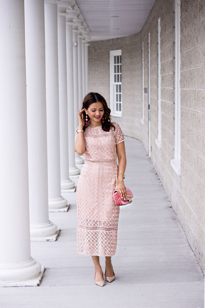 Le chateau pink lace dress