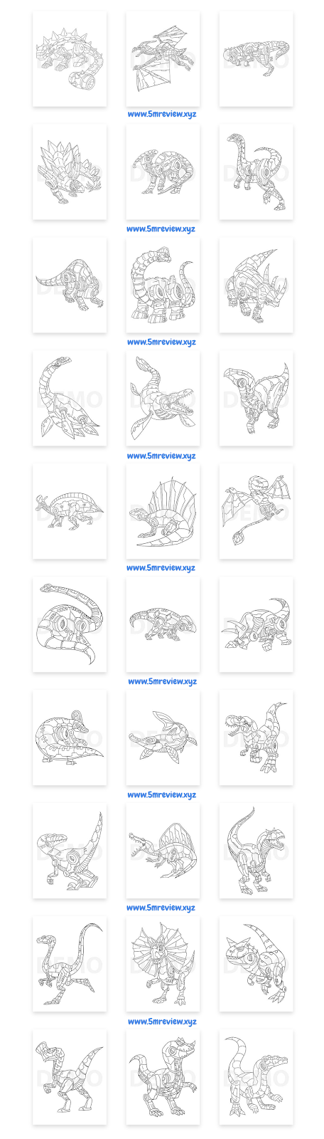 Robo-Dino-Coloring-Pack-Sample