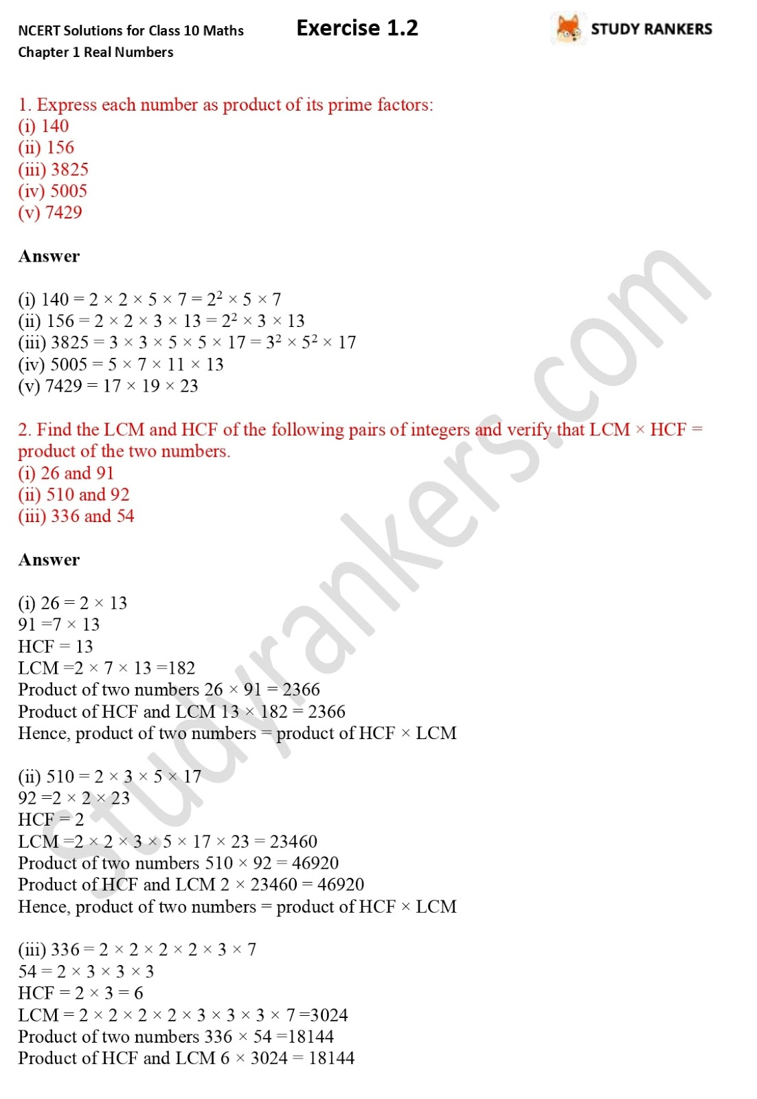 NCERT Solutions for Class 10 Maths Chapter 1 Real Numbers Exercise 1.2 1