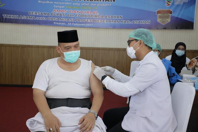 Bupati Asahan dan Forkopimda Mengikuti Pencanangan Vaksinasi Covid-19 di Kabupaten Asahan