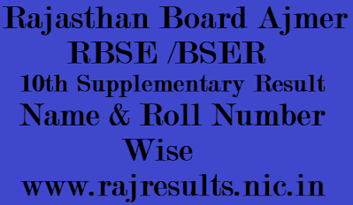 RBSE 10th Supplementary Result 2021 Name Wise, bser 10th supply result 2021 by roll number, rajasthan board 10th supply result 2021