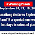 Malacañang proclaims September 16, 17 and 18 a special non-working holidays