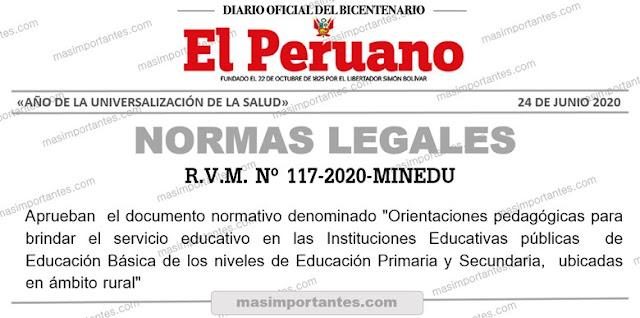 orientaciones pedagógicas para brindar el servicio educativo en iiee rurales