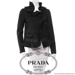 Crown Princess Mette-Marit wore PRADA Ruffle Wool-Silk Short Jacket