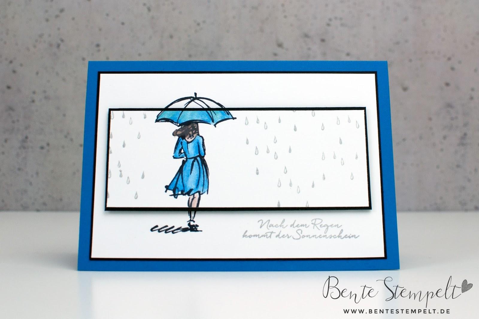 006ce8518d Ich habe die Dame mit dem Regenschirm aus dem Stempelset Mit Stil  vollständig auf weißes Papier gestempelt, mit Aquarellstiften und einem  Wassertankpinsel ...