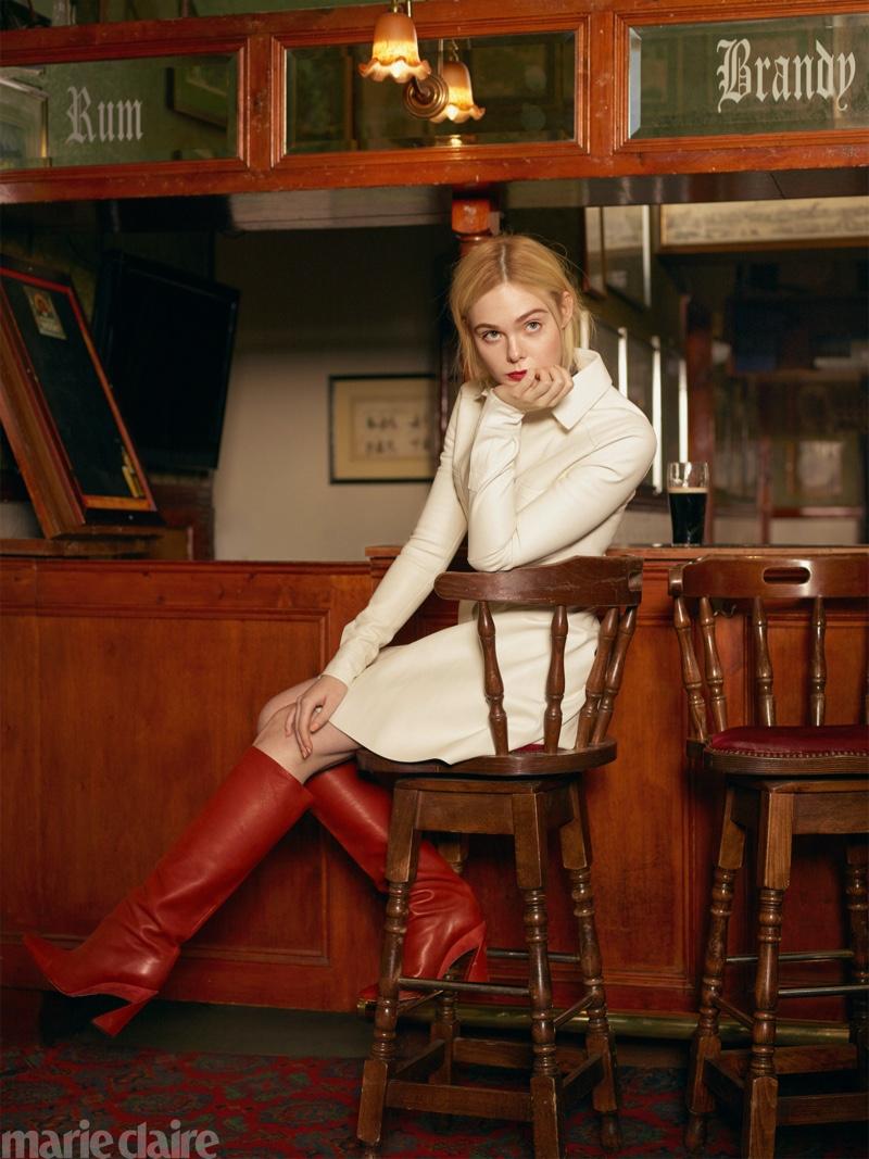 Elle Fanning wears Longchamp dress and Salvatore Ferragamo boots - Marie Claire US February 2020