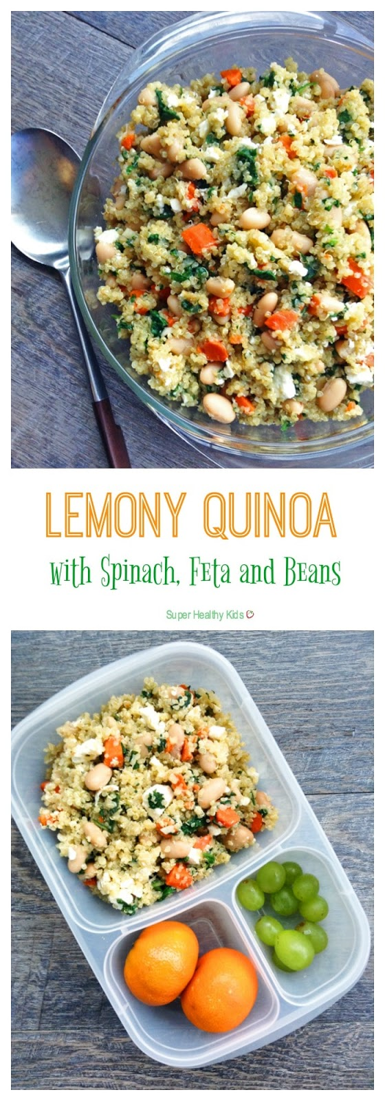 Lemony Quinoa with Spinach, Feta and Beans
