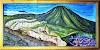 Relief lukisan timbul gunung pangrango dari batu alam putih