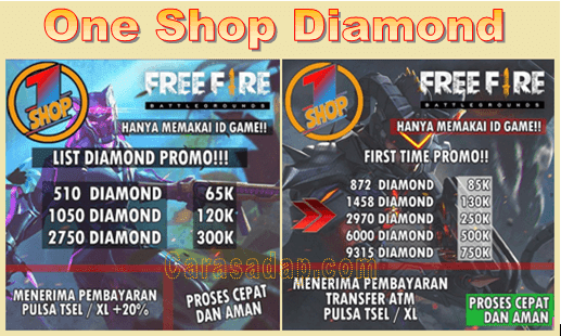 Oneshopdm top up diamond free fire murah