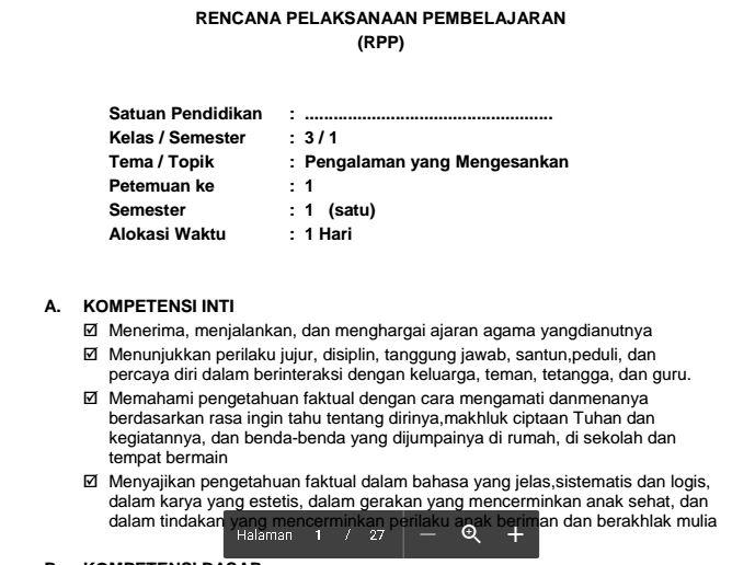 Download RPP Kurikulum 2013 SD Kelas III Tema 2 Pengalaman Yang Mengesankan Format PDF