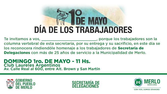 Tarjeta invitación para el Acto por el Día del Trabajador de la Municipalidad de Merlo