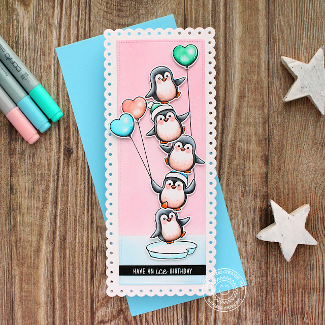 Sunny Studio Stamps: Slimline Dies Penquin Pals Winter Themed Birthday Card by Vanessa Menhorn