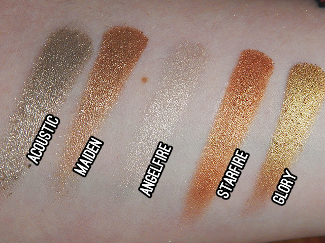 Urban Decay Heavy Metals holiday eyeshadow palette - Glory, Starfire, Angelfire, Maiden, Acoustic swatches