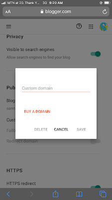 setting custom domain on blogspot