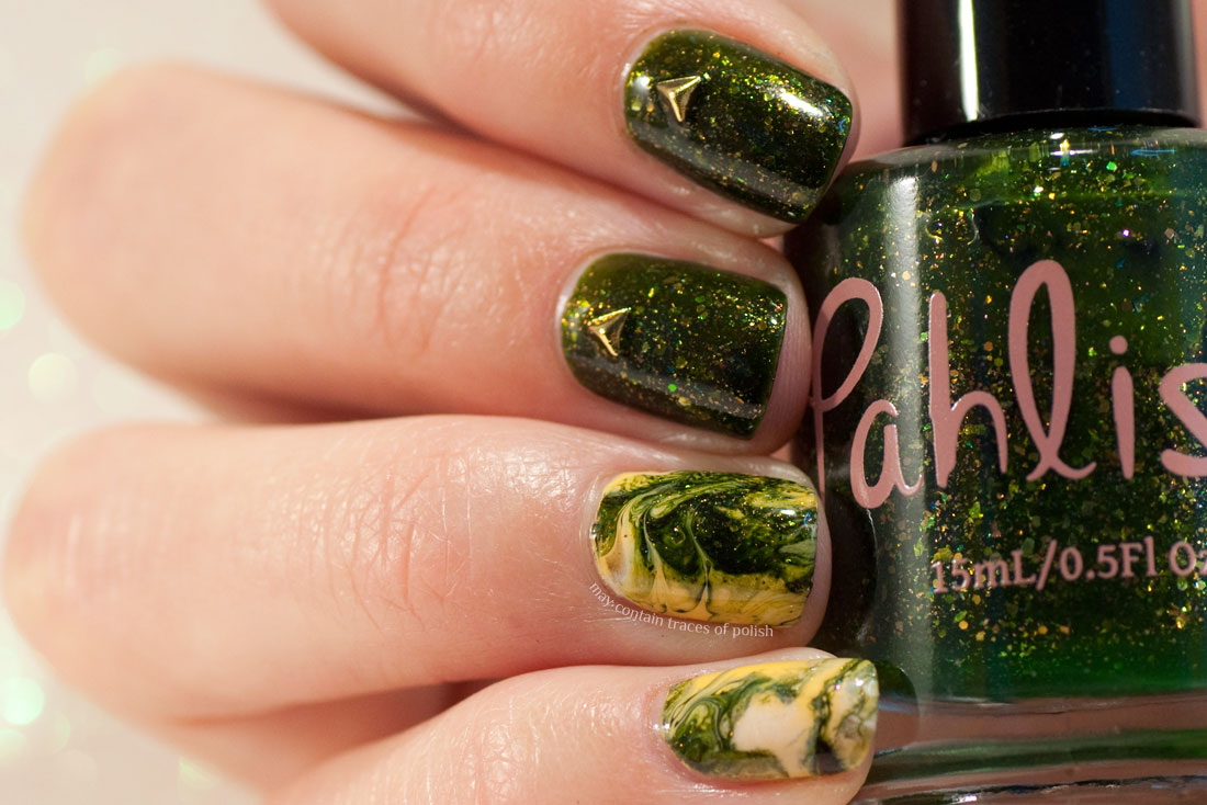 Swirl Marble Autumn Nail Art with Pahlish nail polish
