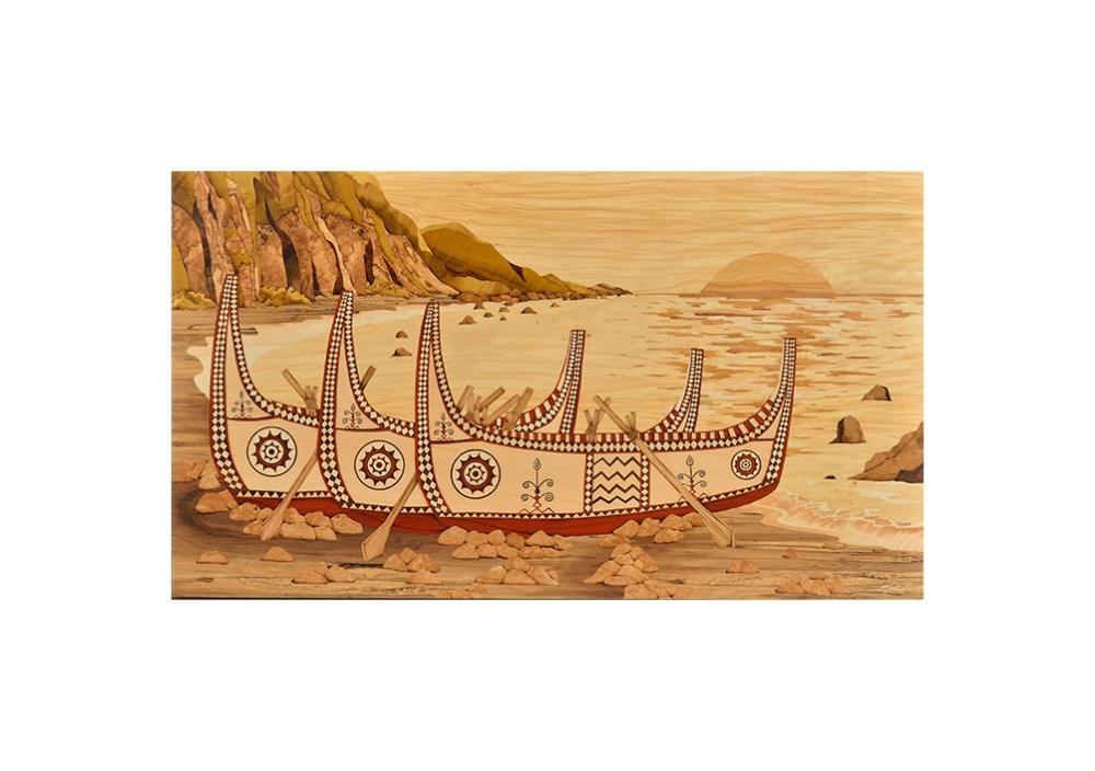 Sandy老師創作理念:「日出海平線,達悟東清灣;紅黑白相間的拼板舟,帶著族人的祈望,乘風啟航。」