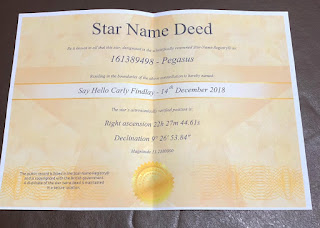 "Star deed text - yellow paper with ""star name deed"""