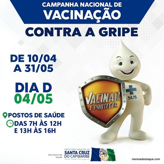 Campanha de vacinação contra gripe começa na próxima quarta-feira (10), em Santa Cruz do Capibaribe