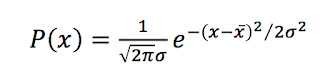 An equation for the Gaussian probability distribution.